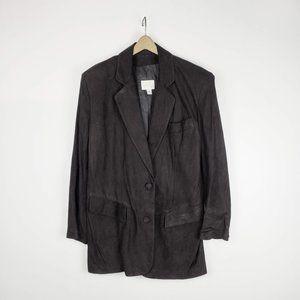 Vakko black sueded leather long academic blazer M